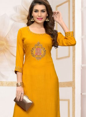 Yellow Rayon Embroidered Party Wear Kurti