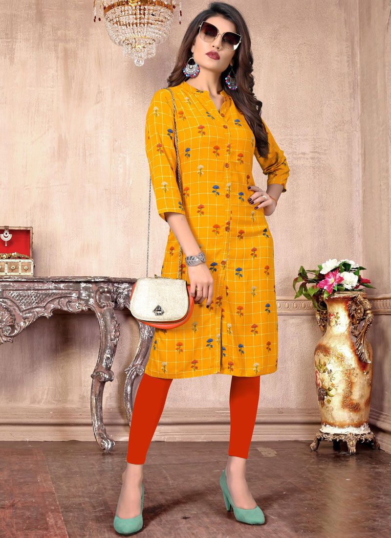 Yellow Rayon Printed Casual Kurti