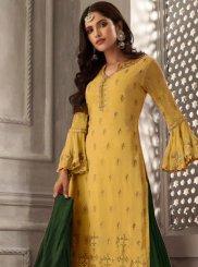 Yellow Resham Faux Georgette Designer Palazzo Suit