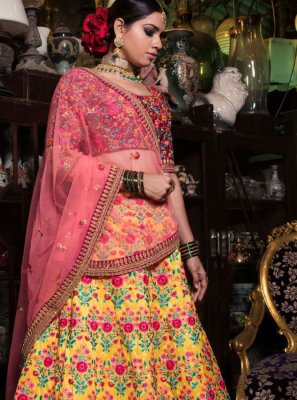 Yellow Resham Malbari Silk  Lehenga Choli