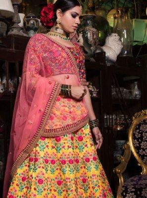 Yellow Resham Malbari Silk  Lehenga Choli