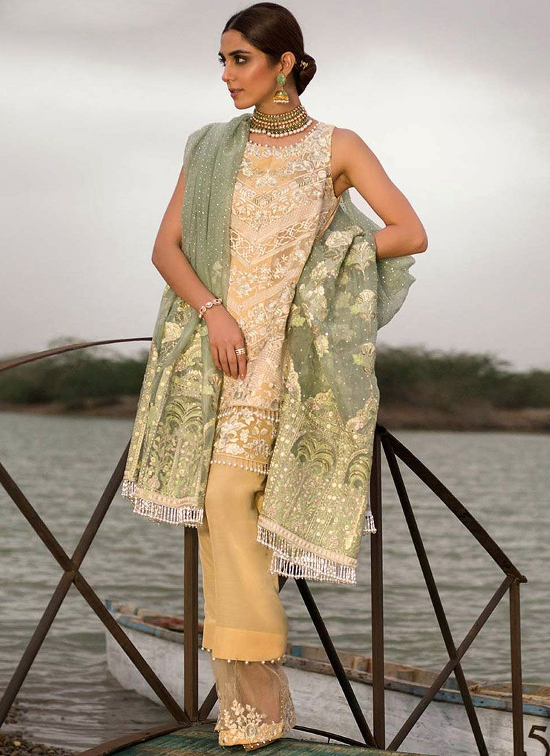 Yellow Resham Net Designer Suit