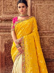Yellow Resham Party Traditional Designer Saree