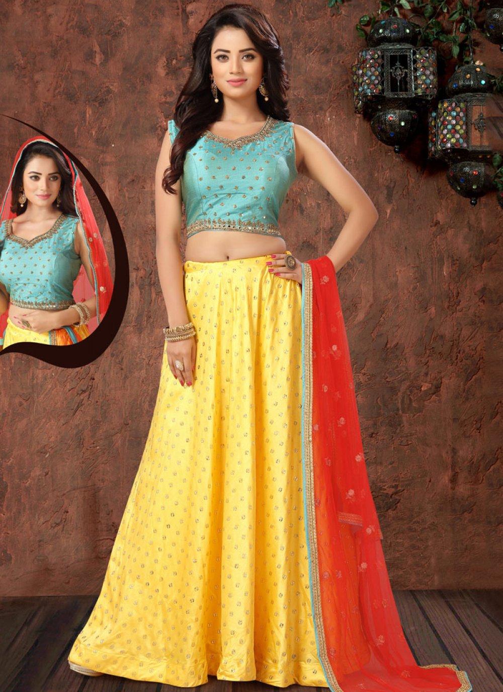 Yellow Sangeet Art Silk Readymade Lehenga Choli
