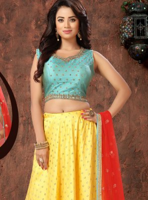 Yellow Sangeet Art Silk Readymade Lehenga Choli