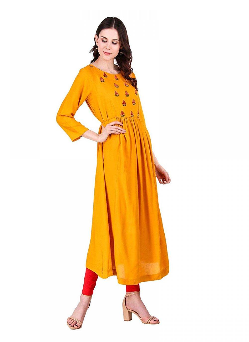 Yellow Sangeet Party Wear Kurti