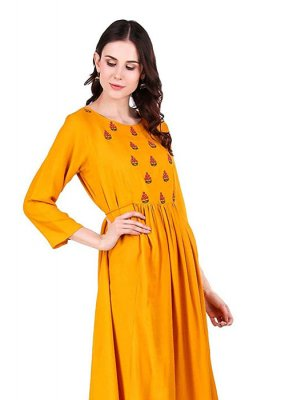 Yellow Sangeet Party Wear Kurti