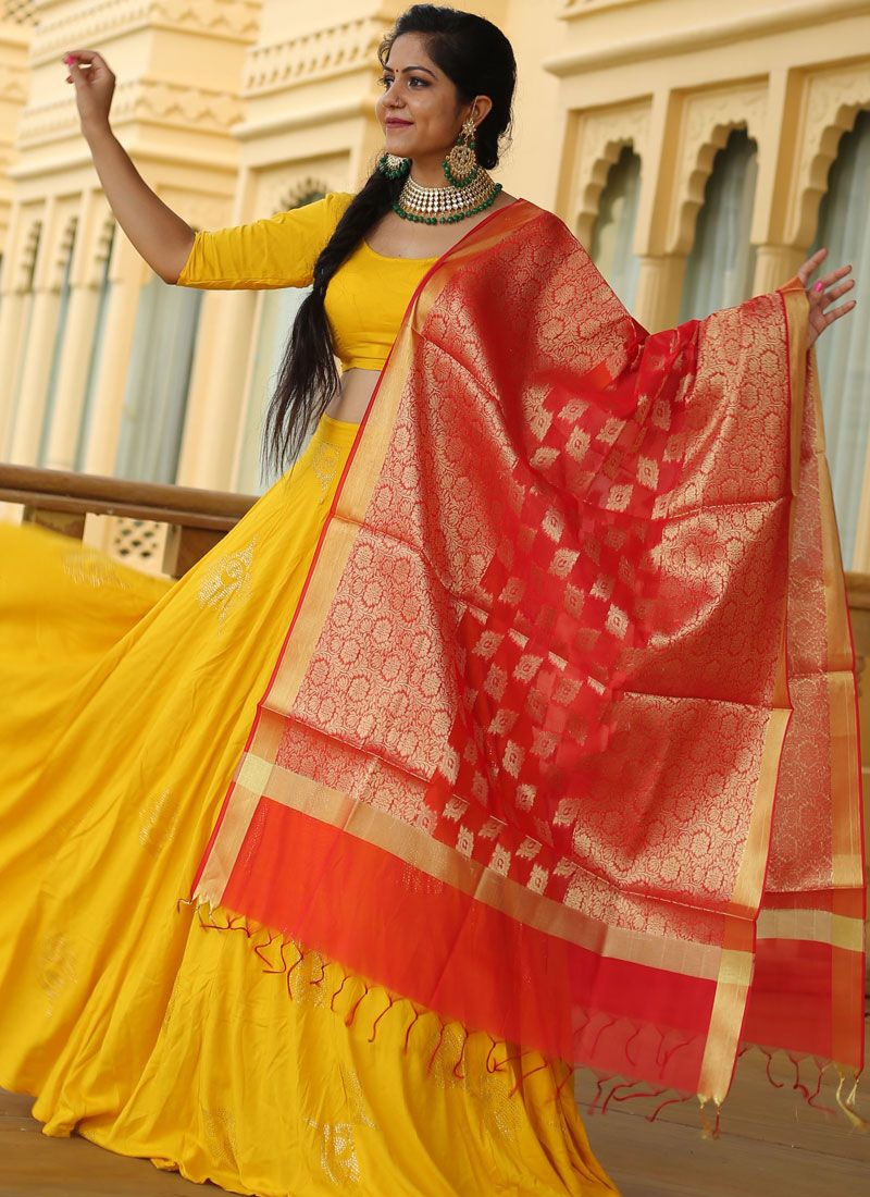 Yellow Sangeet Readymade Lehenga Choli