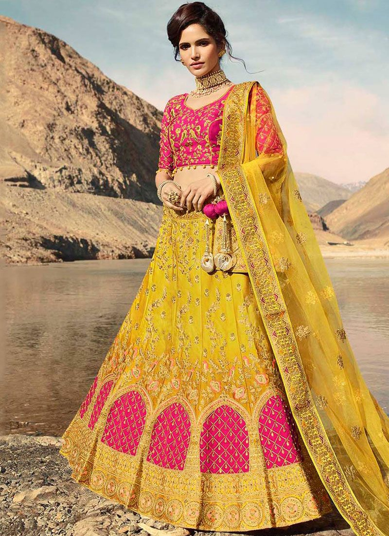 Yellow Satin Wedding Designer A Line Lehenga Choli