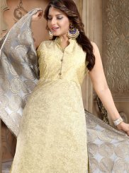 Yellow Silk Plain Churidar Salwar Kameez