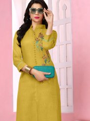 Yellow Thread Work Rayon Designer Kurti