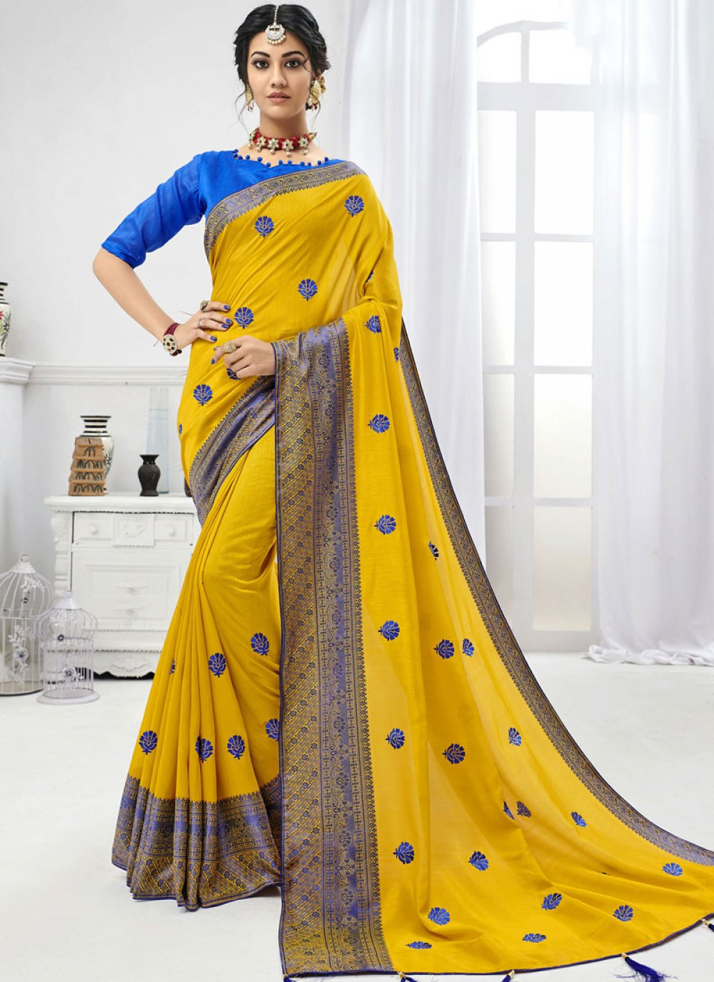 Yellow Trendy Saree