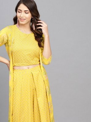 Yellow Viscose Ceremonial Casual Kurti