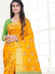 Yellow Weaving Art Silk Traditional Saree