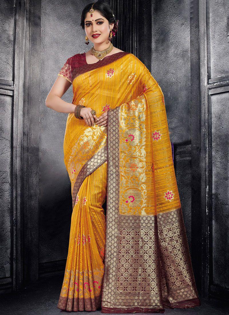 Yellow Weaving Designer Saree