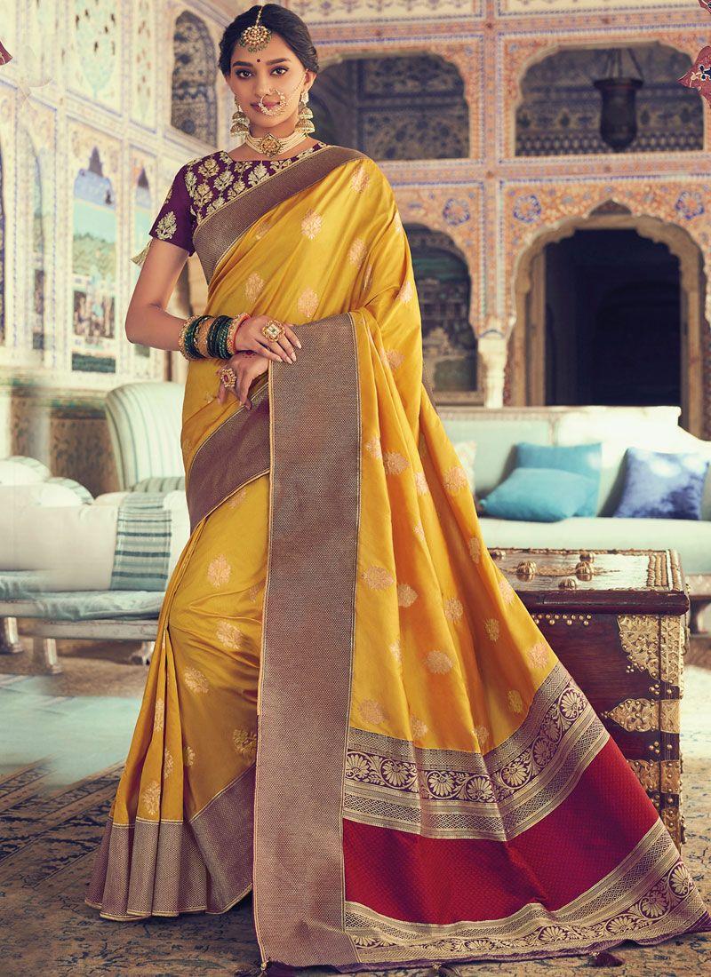 Yellow Weaving Designer Traditional Saree