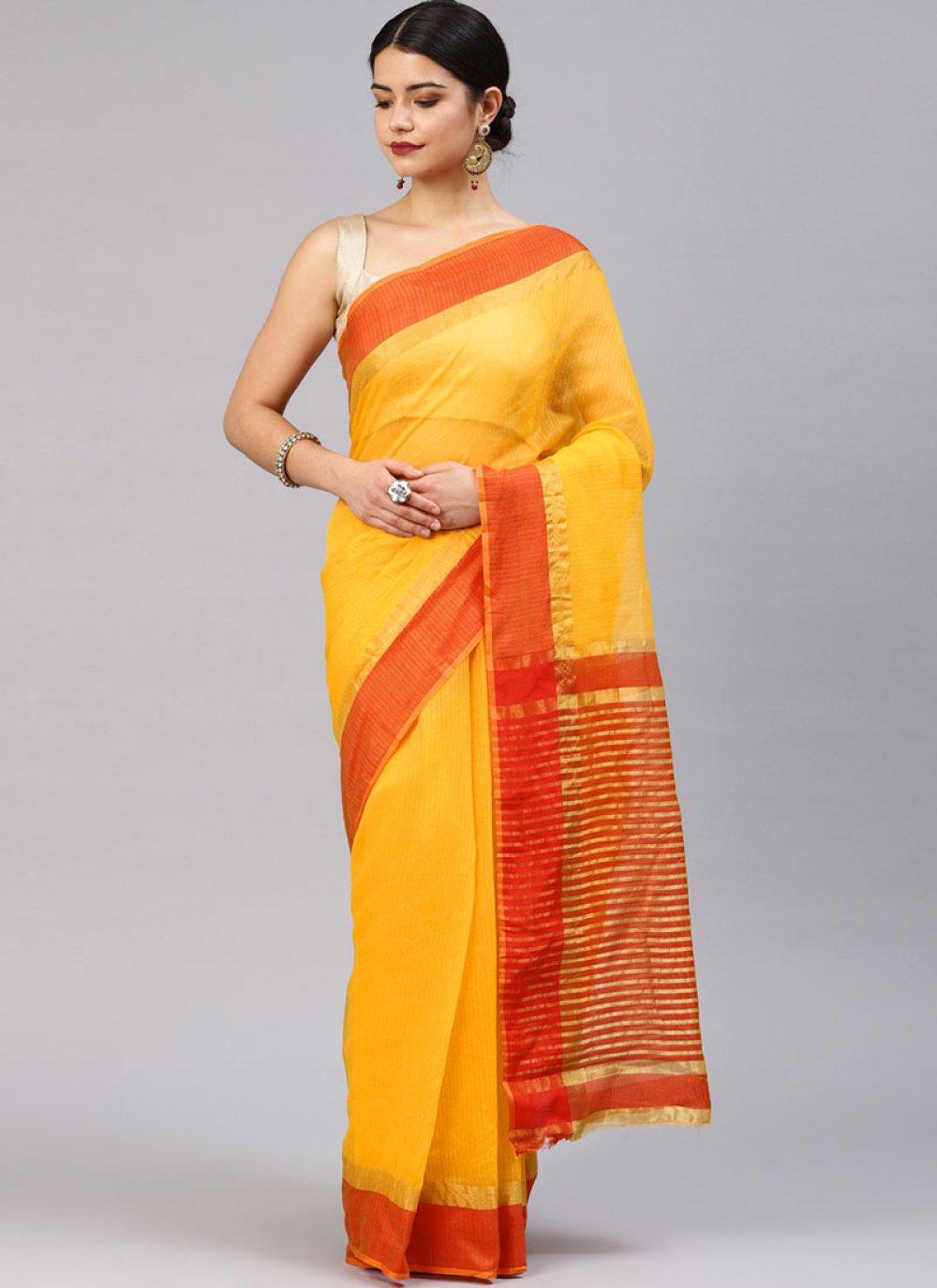 Yellow Weaving Festival Silk Saree