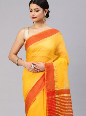 Yellow Weaving Festival Silk Saree