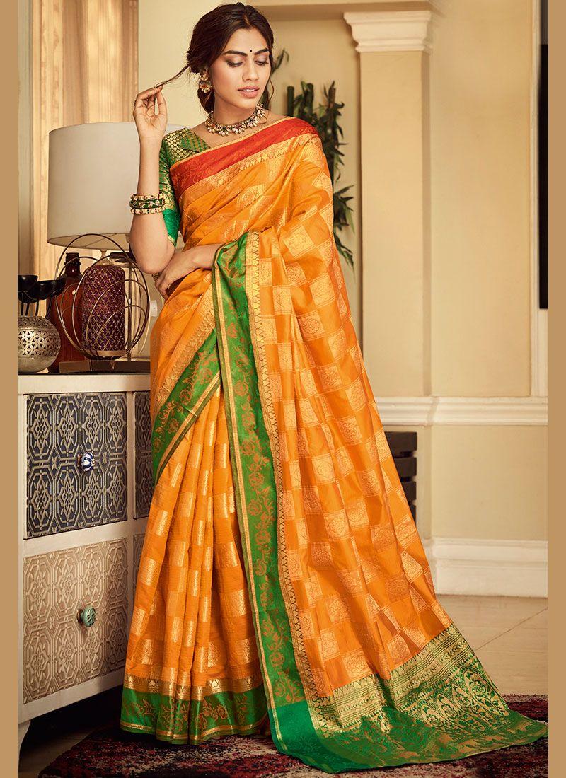 Orange Weaving Handloom silk Classic Saree