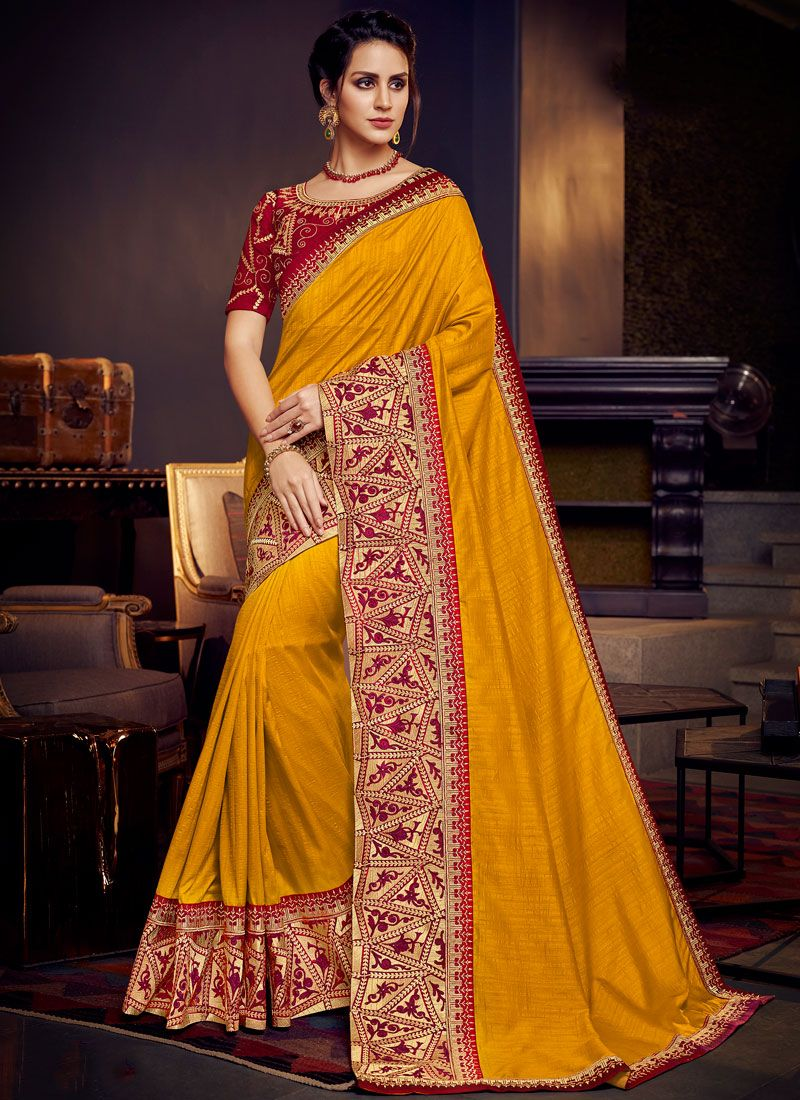 Yellow Wedding Designer Traditional Saree