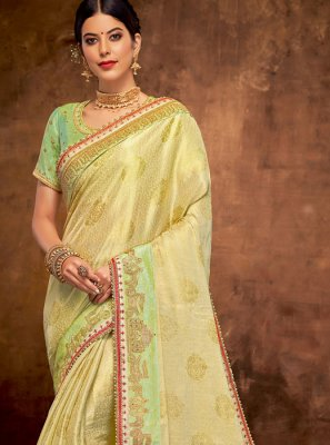 Yellow Wedding Jacquard Silk Designer Traditional Saree