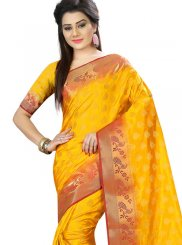 Yellow Woven Art Silk Designer Traditional Saree