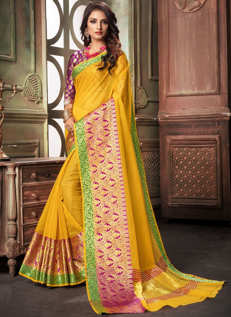 Yellow Woven Cotton Traditional Saree