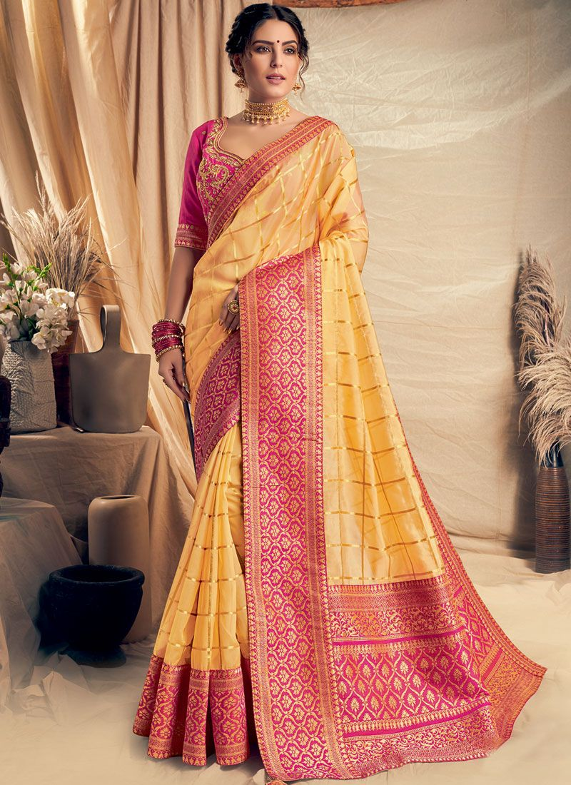 Yellow Zari Georgette Designer Traditional Saree