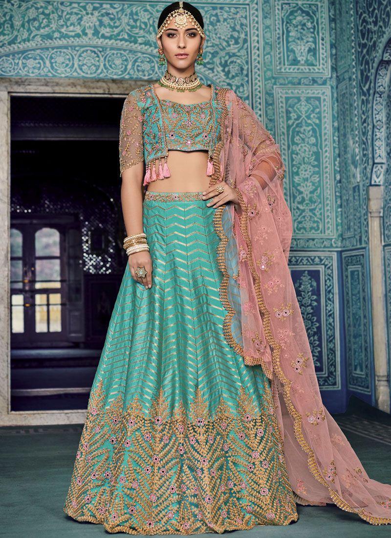Zari Art Silk Blue Lehenga Choli
