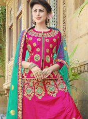 Zari Art Silk Hot Pink Trendy Lehenga Choli
