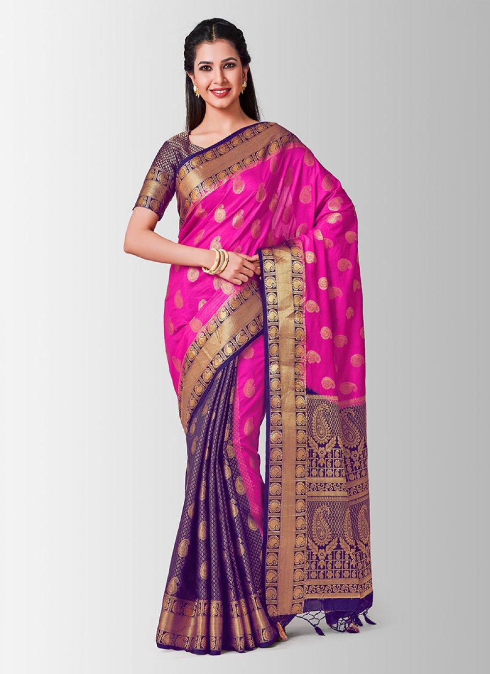 Zari Art Silk Pink Designer Traditional Saree