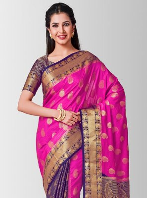 Zari Art Silk Pink Designer Traditional Saree
