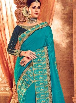 Zari Art Silk Turquoise Classic Saree