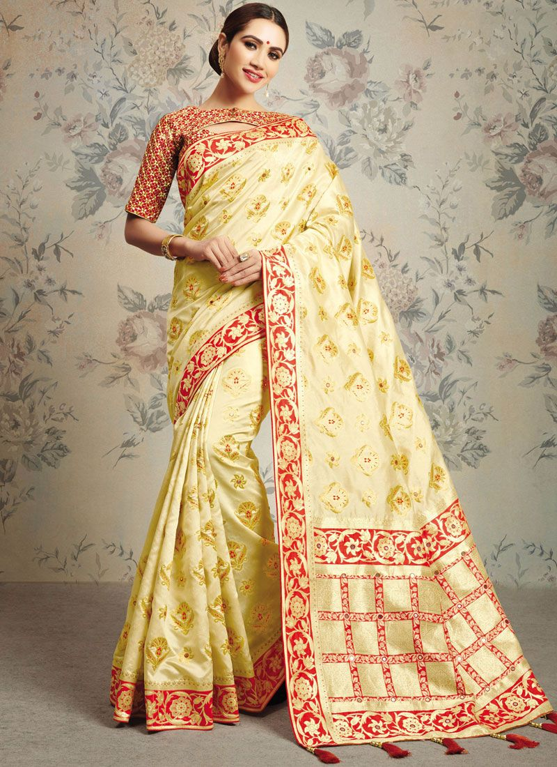 Zari Beige and Red Classic Saree