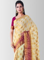 Zari Beige Art Silk Designer Traditional Saree