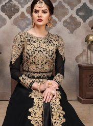 Zari Black Faux Georgette Floor Length Anarkali Suit