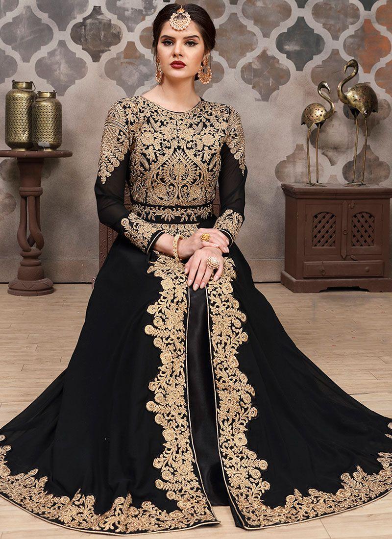 Zari Black Faux Georgette Floor Length Anarkali Suit