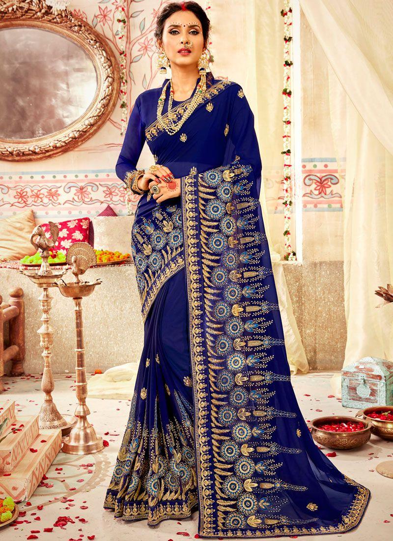 Zari Blue Classic Designer Saree