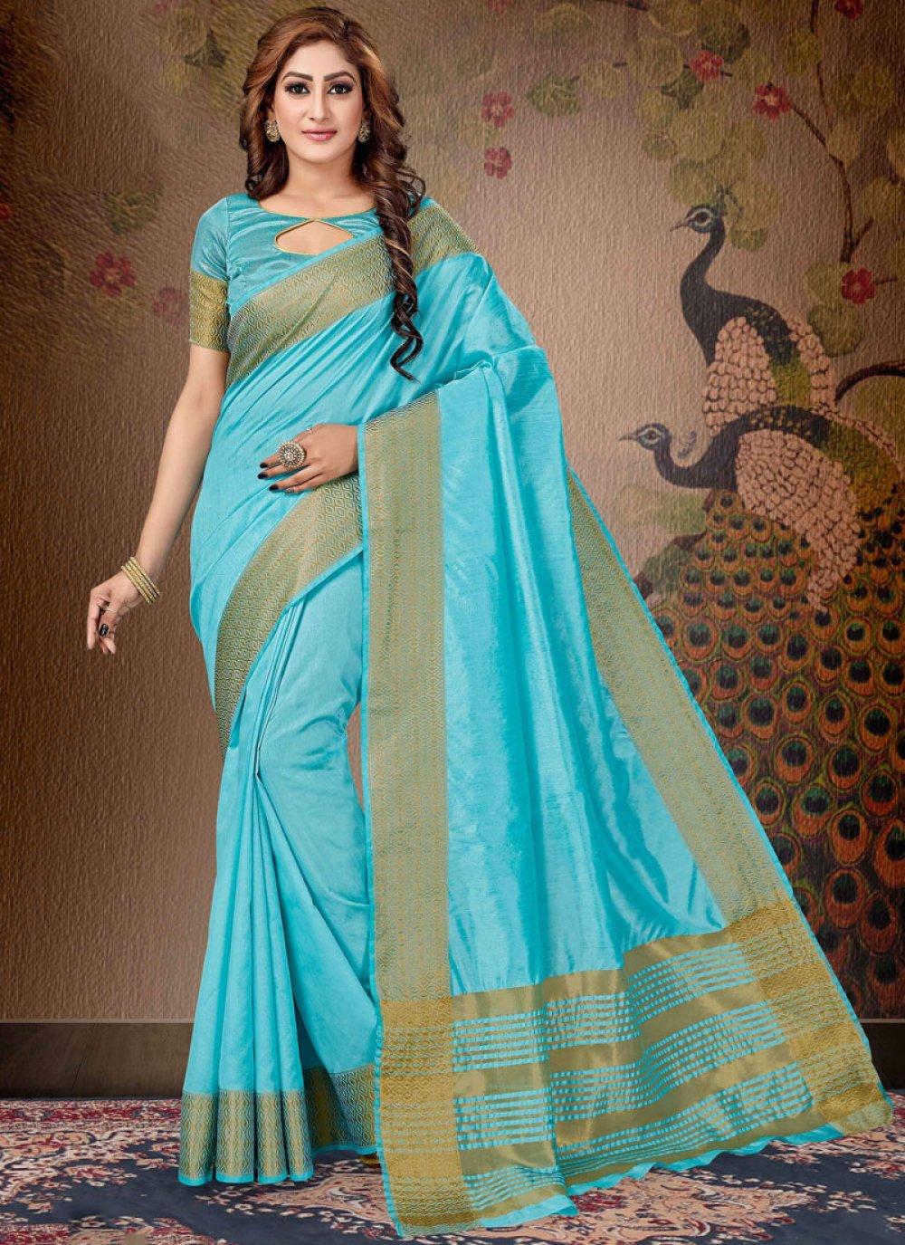 Zari Blue Trendy Saree