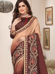 Zari Brown Art Silk Trendy Saree
