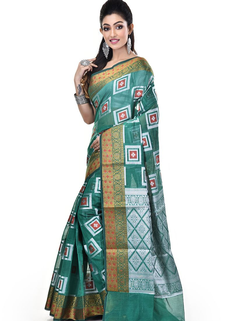 Zari Chanderi Green Designer Saree