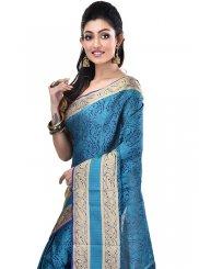 Zari Cotton Designer Saree in Navy Blue