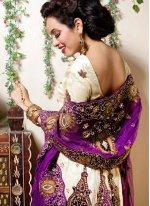 Zari Cream Net Designer Lehenga Choli