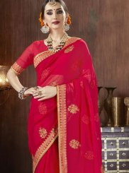 Zari Georgette Red Classic Saree