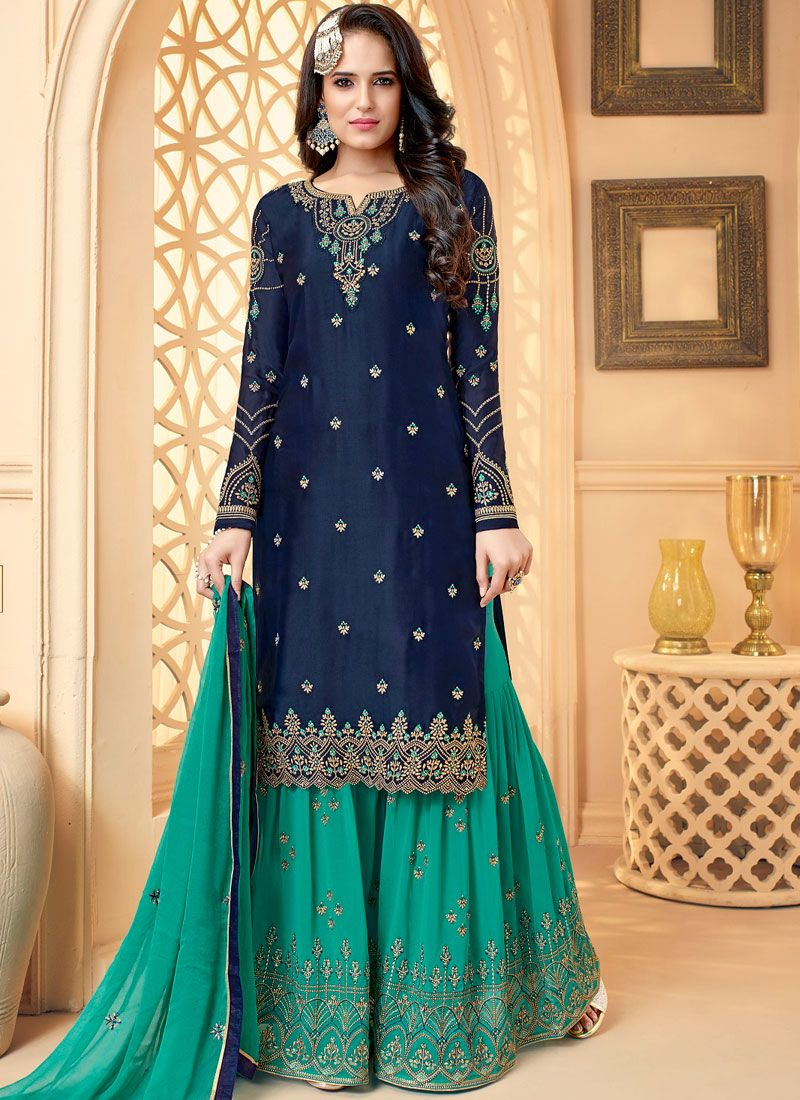 Zari Georgette Satin Designer Palazzo Salwar Suit