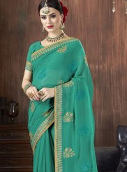 Zari Georgette Trendy Saree in Sea Green