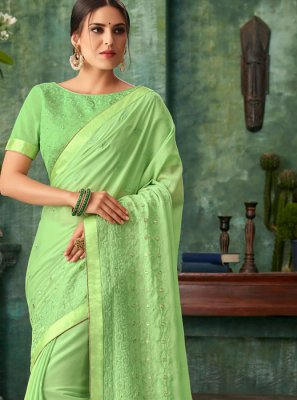 Zari Green Faux Georgette Traditional Designer Saree