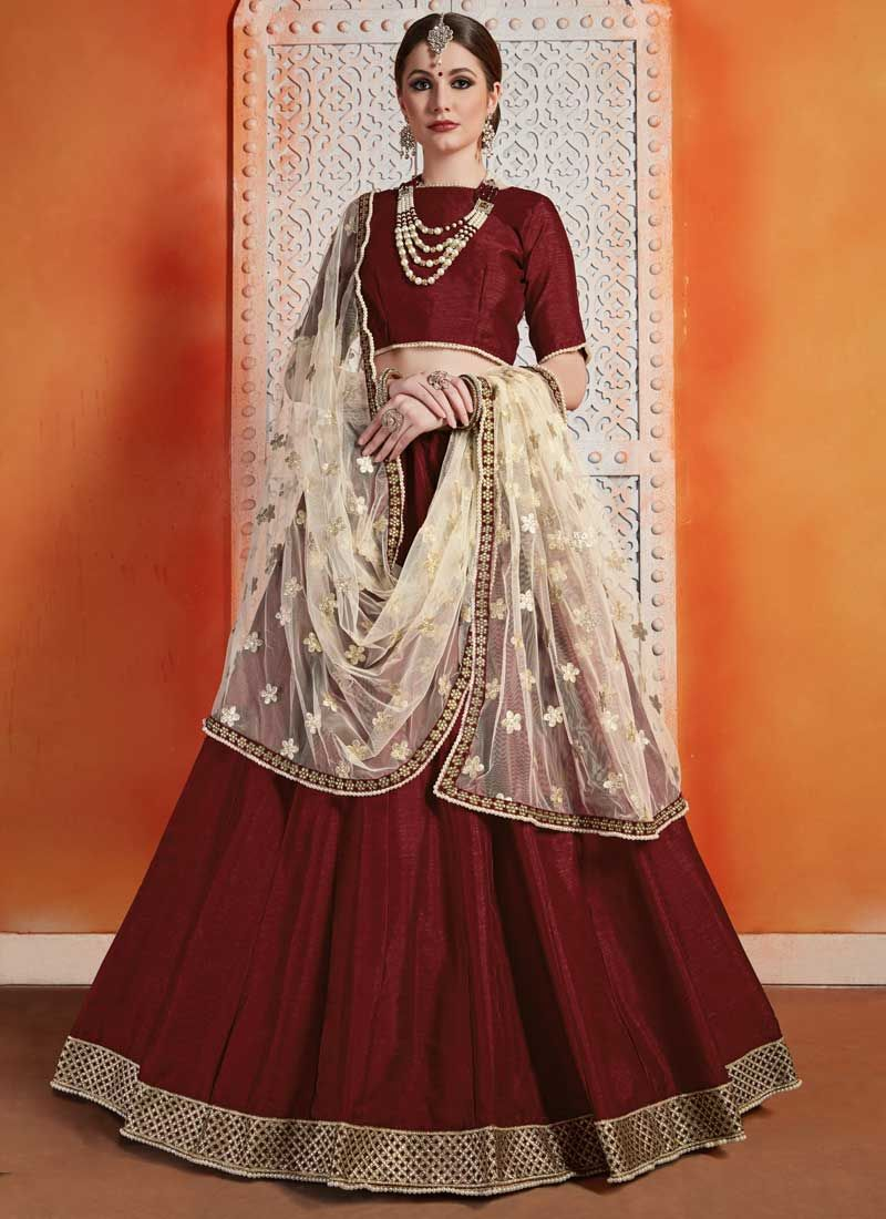 Zari Maroon Trendy Designer Lehenga Choli