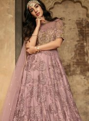 Zari Net Anarkali Suit in Mauve