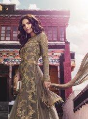 Zari Net Designer Salwar Kameez in Lavender